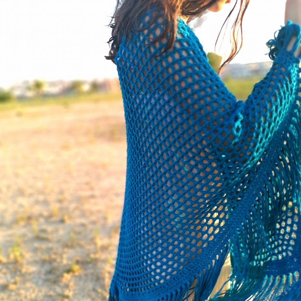 poncho calado tejido a crochet